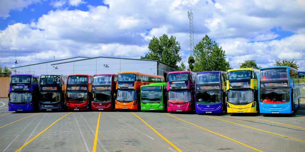 Photo of a fleet of buses