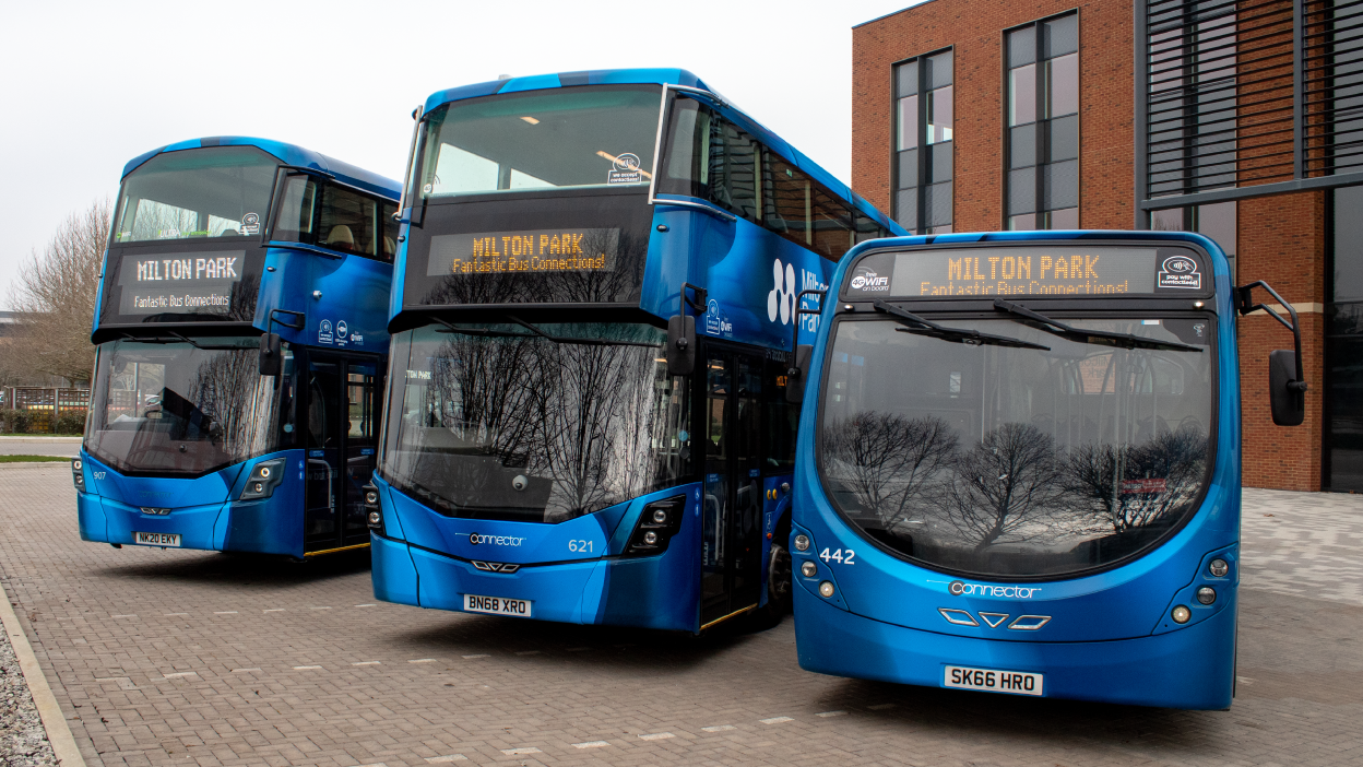 Image of 3 buses with Milton Park livery