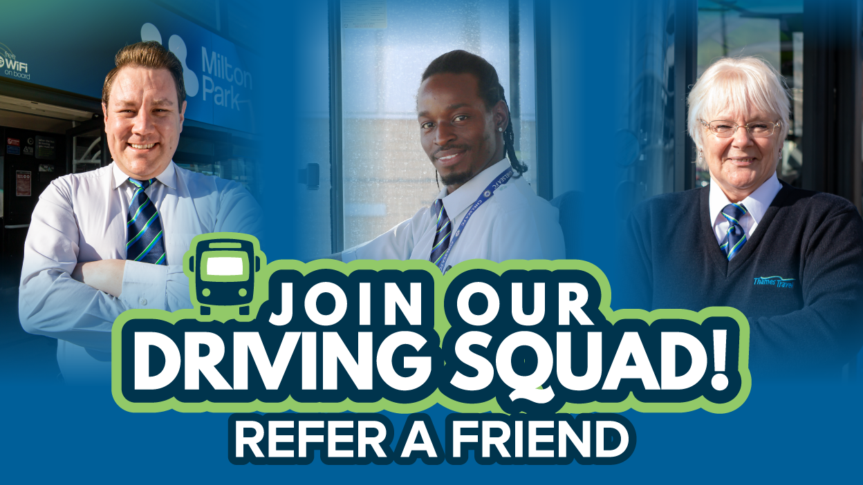 3 bus drivers. Text - join our driving squad! refer a friend
